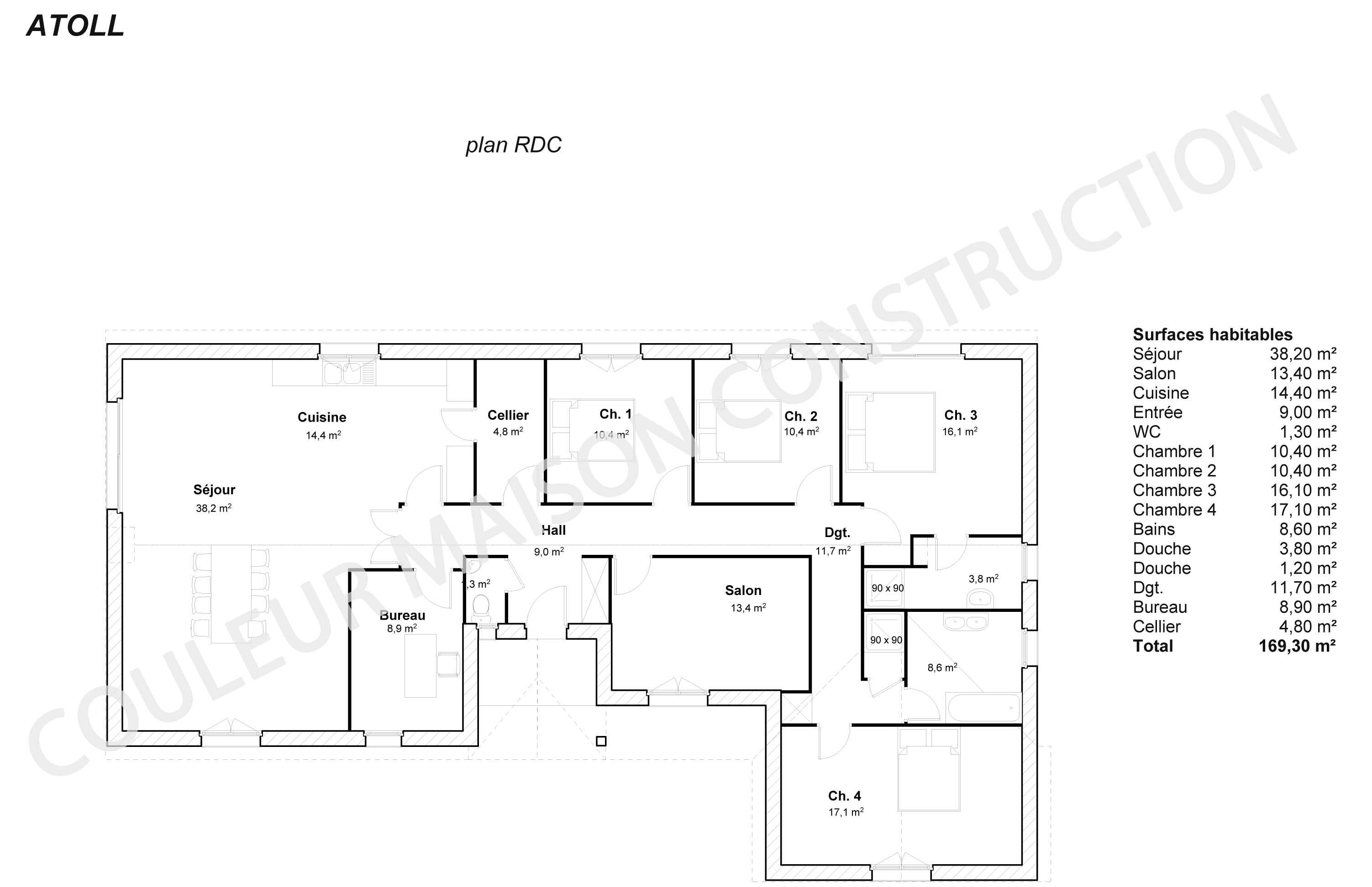 Couleur maison construction le plan de maison plain pied for Plan maison traditionnelle plain pied