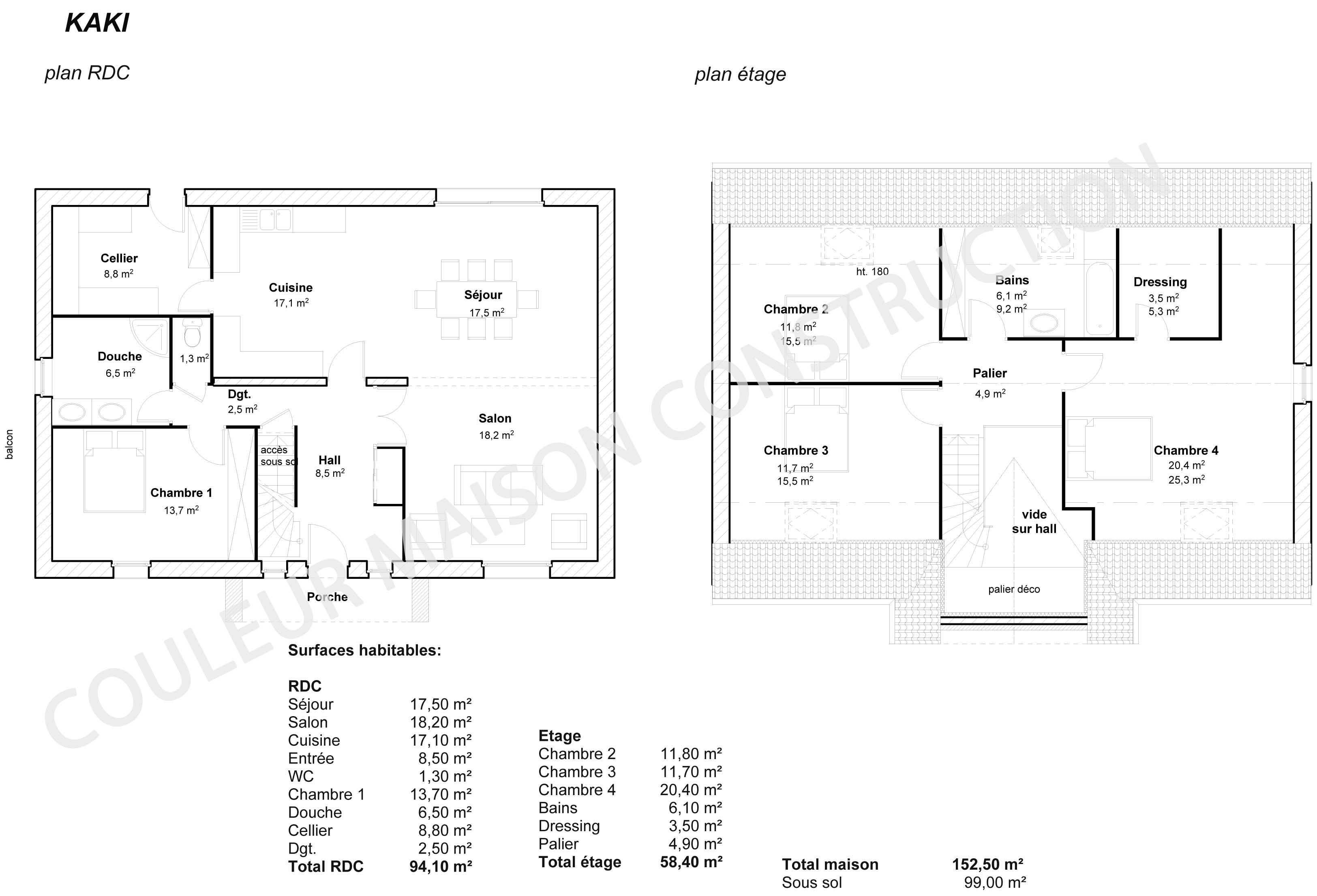 Couleur maison construction le plan de maison de notre for Plan maison 5 chambres