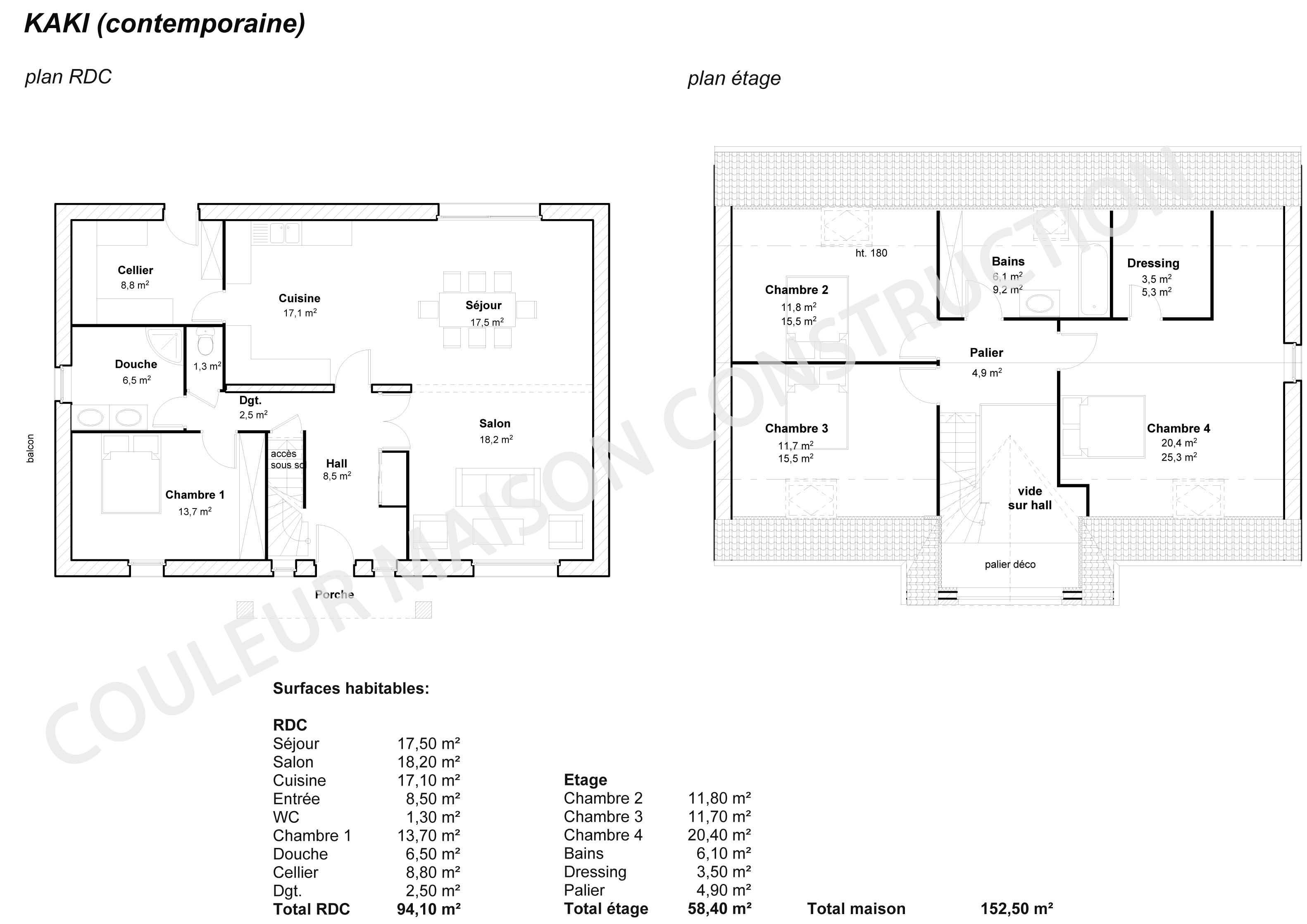 Couleur maison construction le plan de maison de notre modele kaki contemporaine for Exemple plan de maison