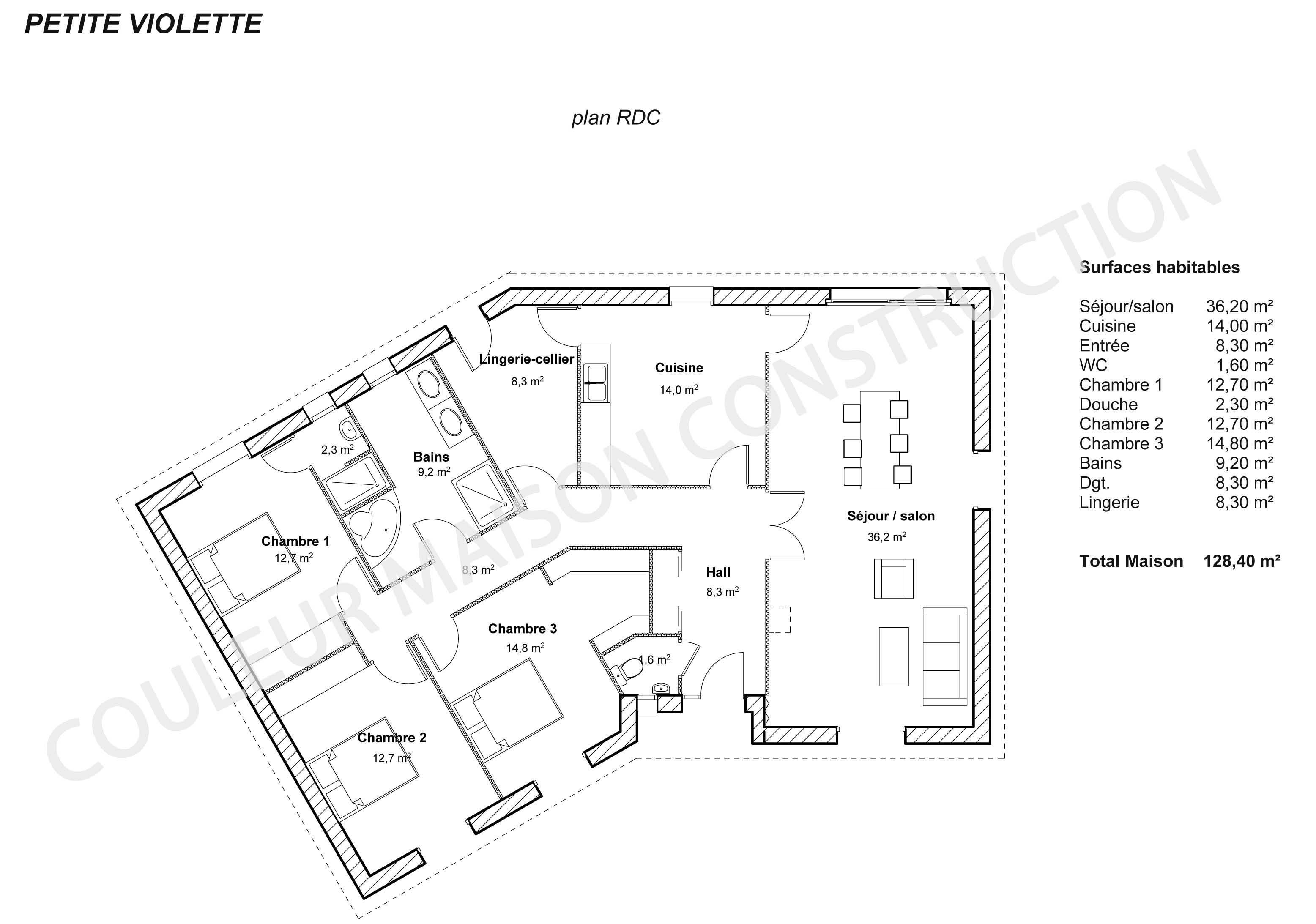 Modele maison en l modle maison pommier plan maison for Plan de maison en l