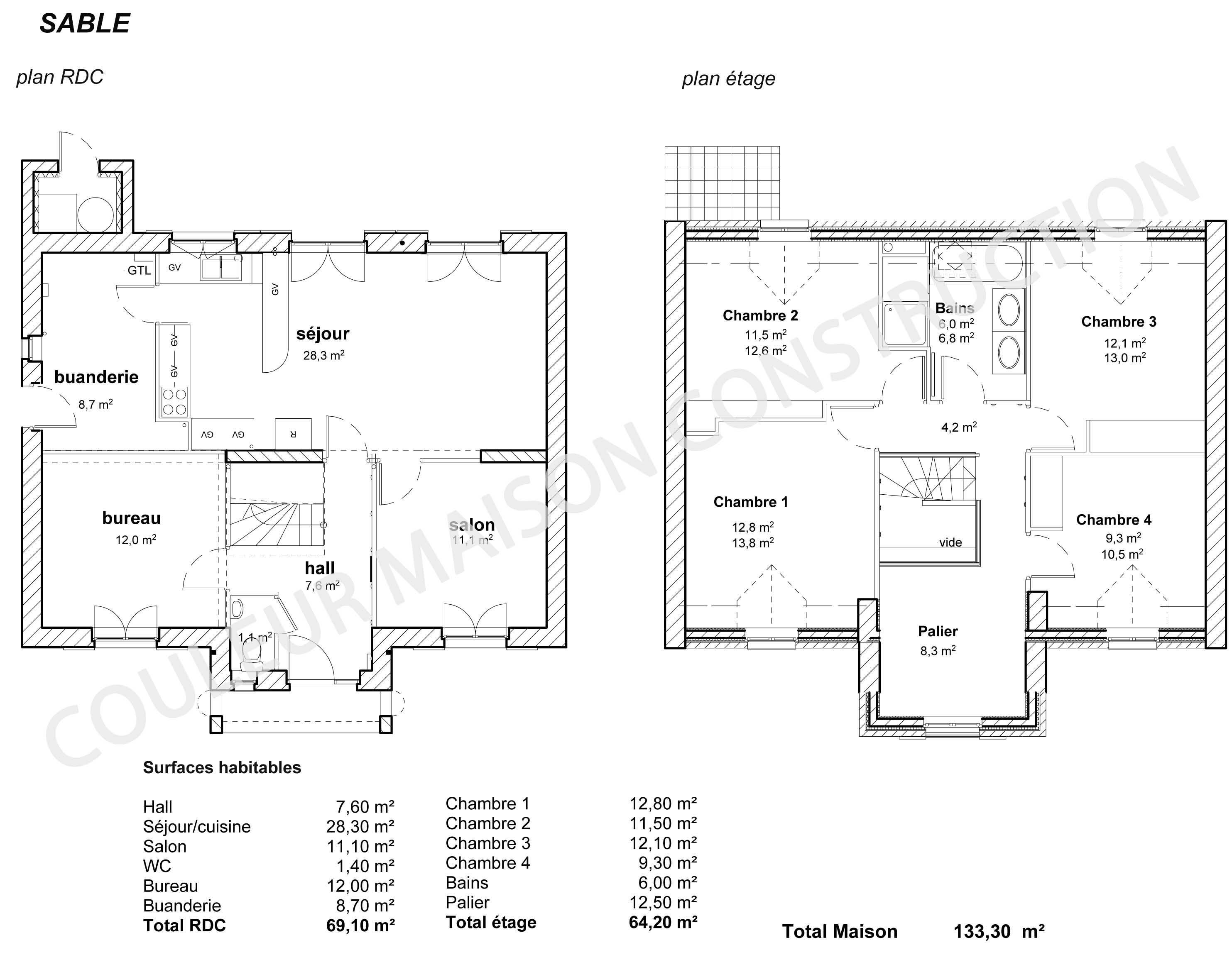 Couleur maison construction le plan de maison de notre modele sable for Plan interieur de maison cubique