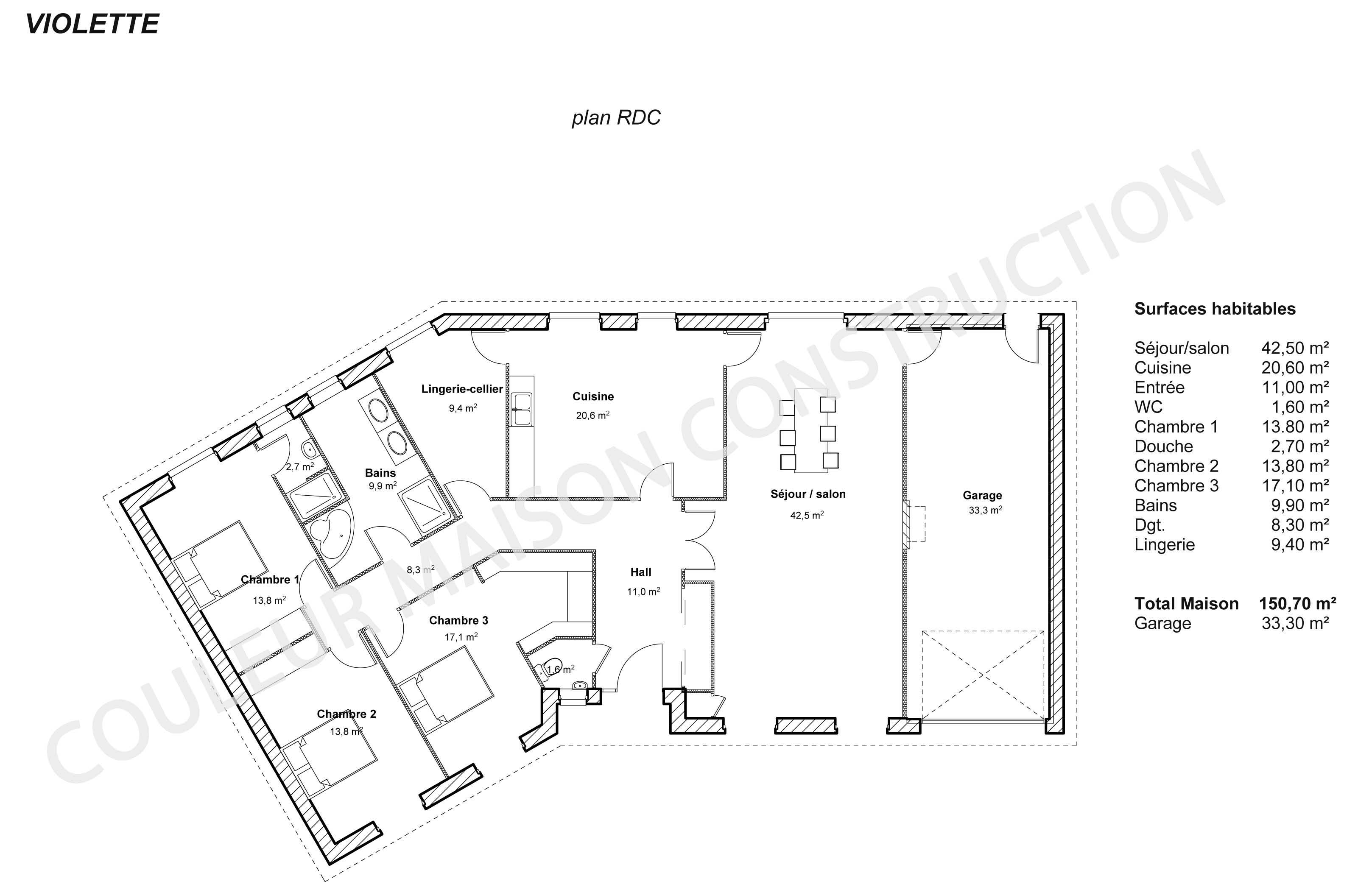 Plan de maison plain pied en v avec garage kw27 jornalagora for Couleur maison construction