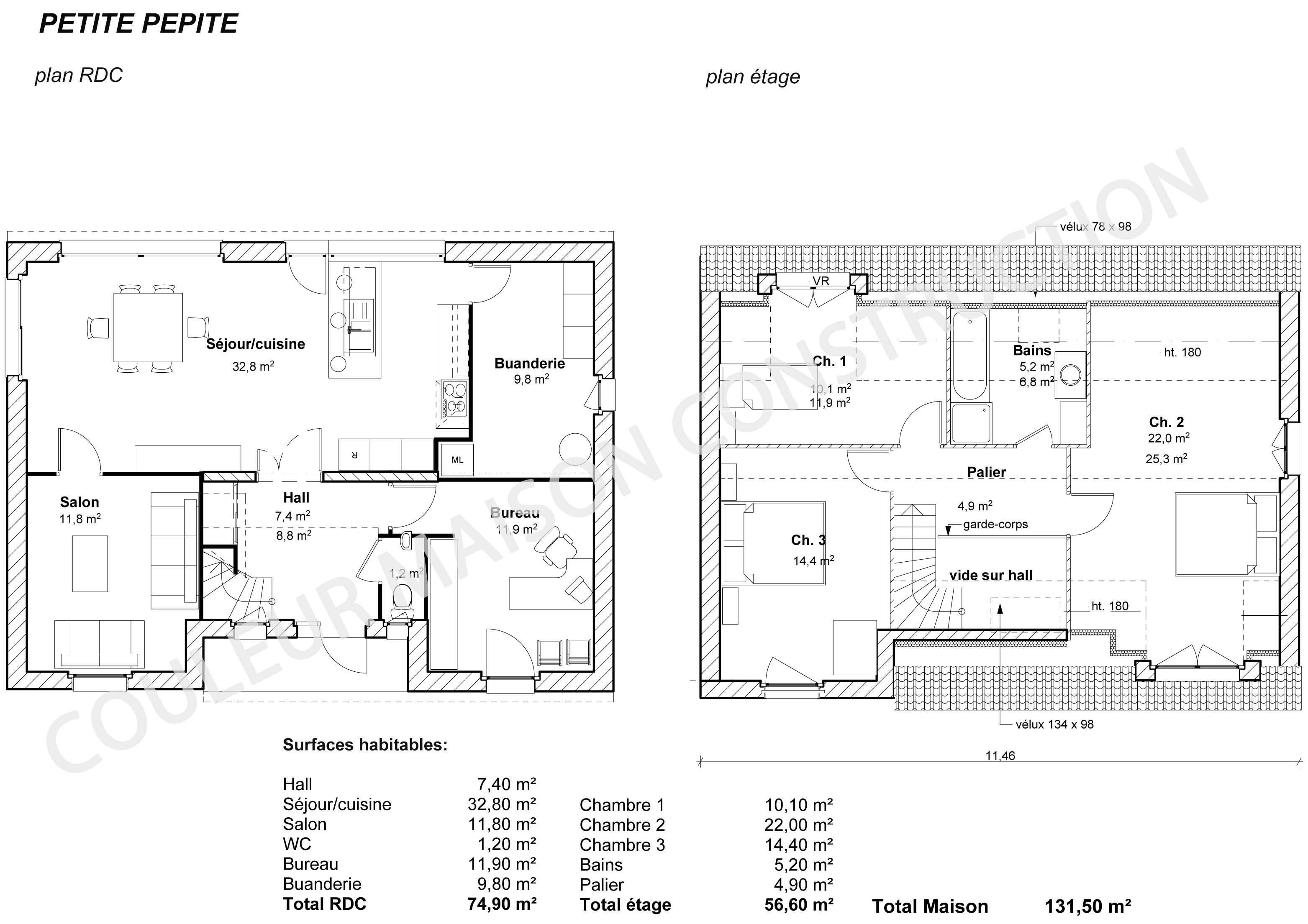 Couleur maison construction plan de maison petite p pite for Plan de maison traditionnelle gratuit